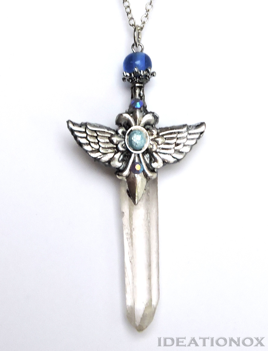Water Dragon Sculpture Amp Custom Crystal Sword Necklace